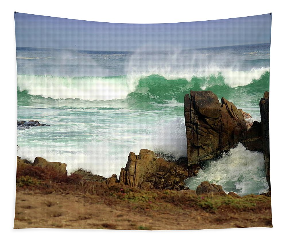 Waves Tapestry featuring the photograph Wild Pacific Two by Joyce Dickens