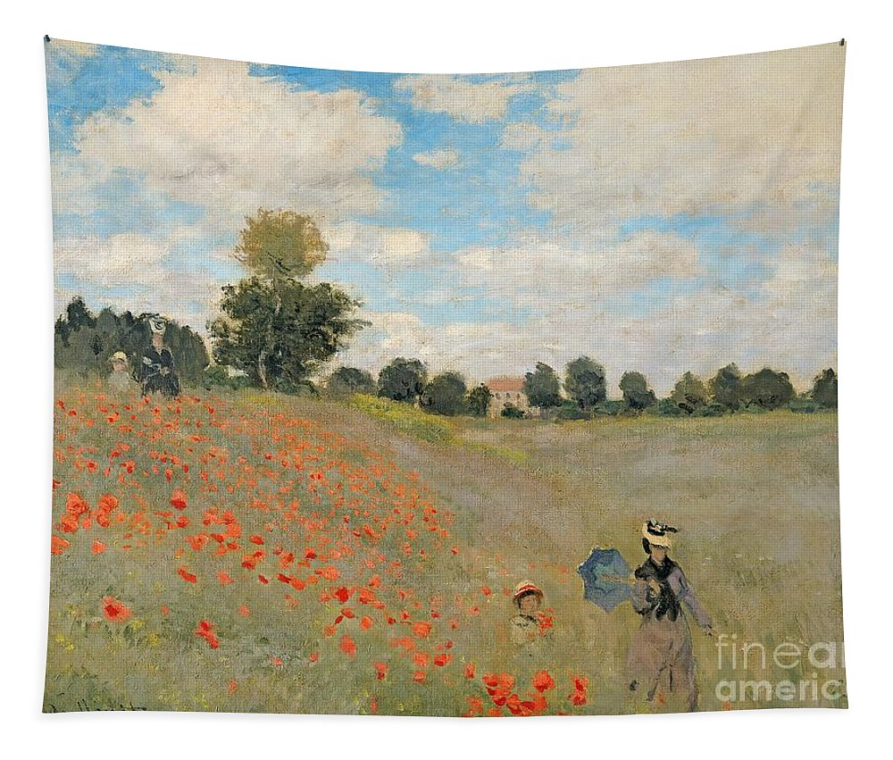 Wild Tapestry featuring the painting Wild Poppies Near Argenteuil by Claude Monet