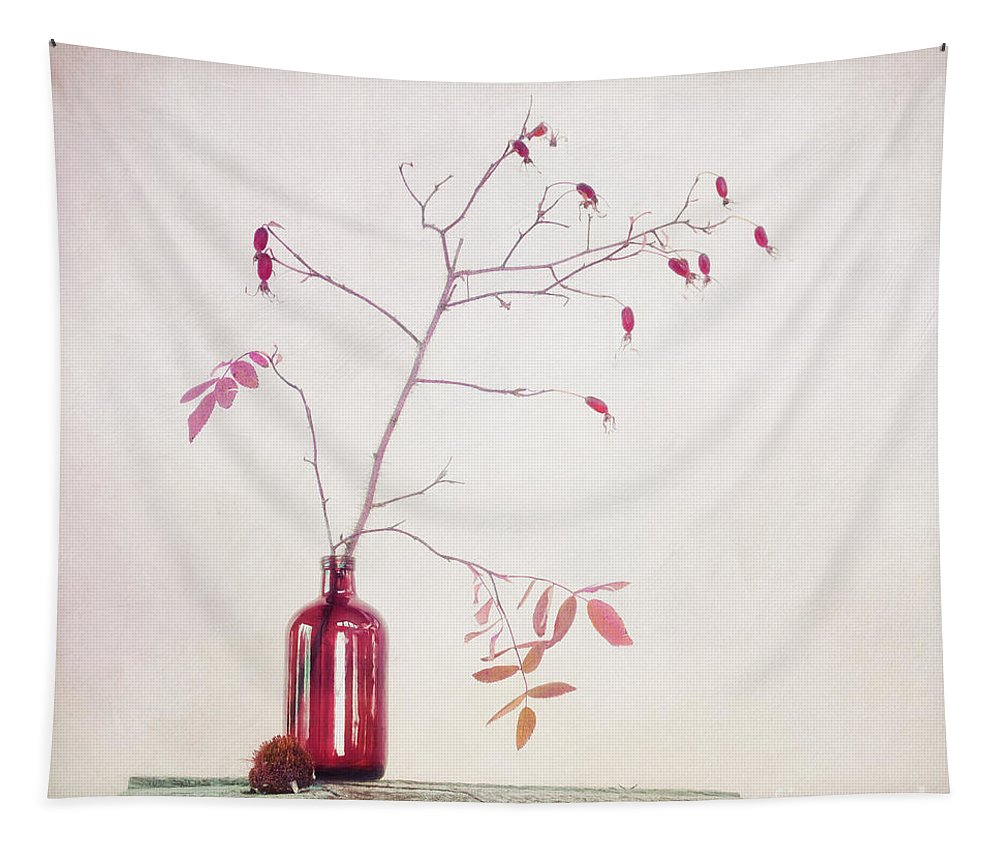 Rosehip Tapestry featuring the photograph Wild Rosehips In A Bottle by Priska Wettstein