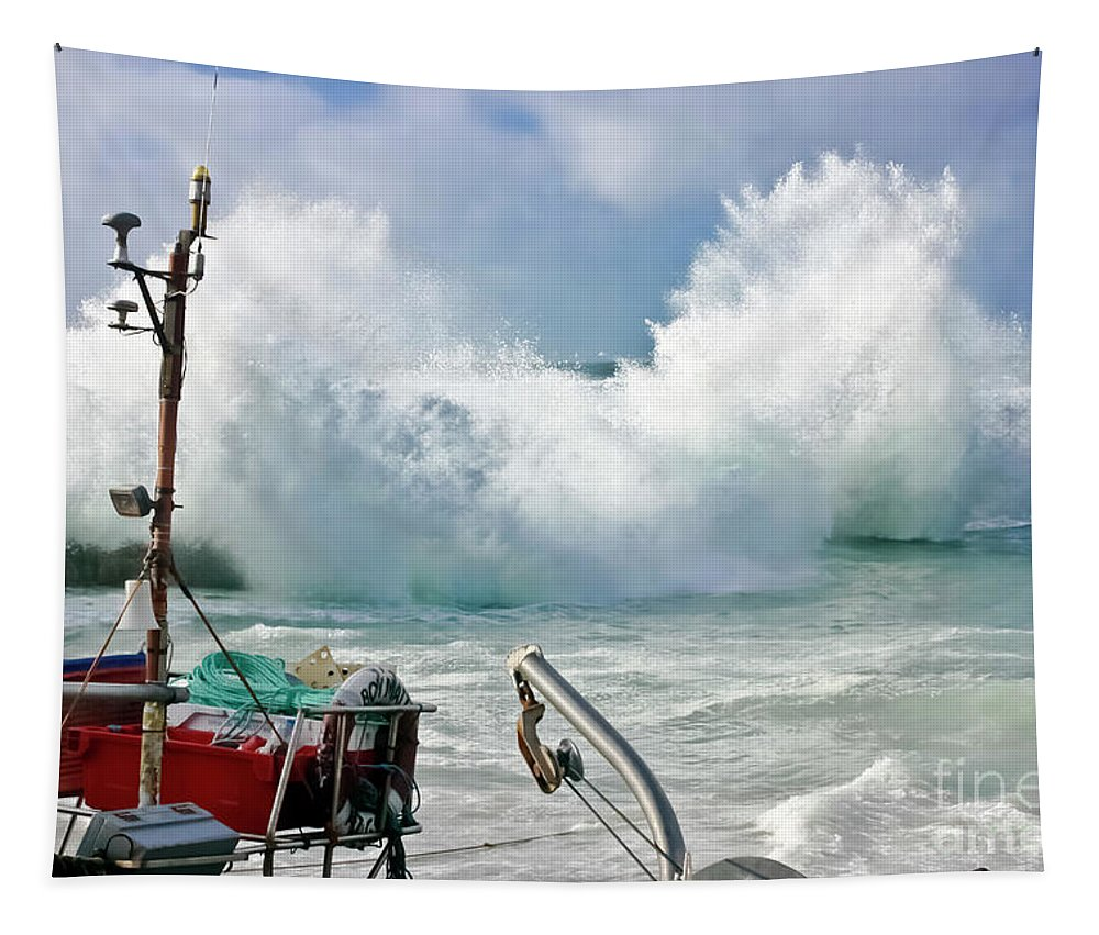 Stormy Tapestry featuring the photograph Wild Waves In Cornwall by Terri Waters