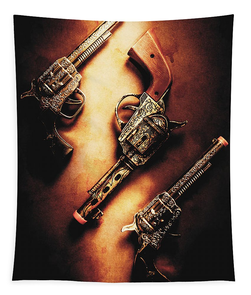 Toy Tapestry featuring the photograph Wild West Cap Guns by Jorgo Photography - Wall Art Gallery