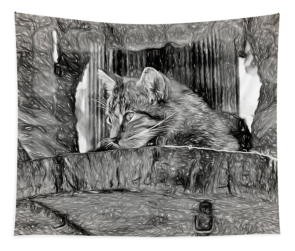 Cat Tapestry featuring the photograph Wildcat - Impressions by Susie Peek