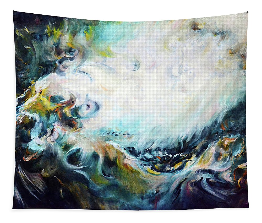 Abstract Tapestry featuring the painting Wilderness - Abstract by Harsh Malik
