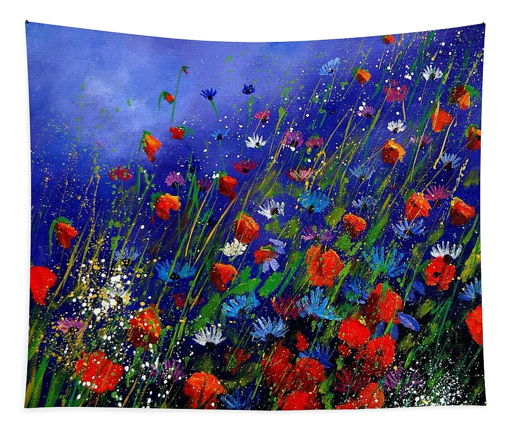 Poppies Tapestry featuring the painting Wildflowers 78 by Pol Ledent