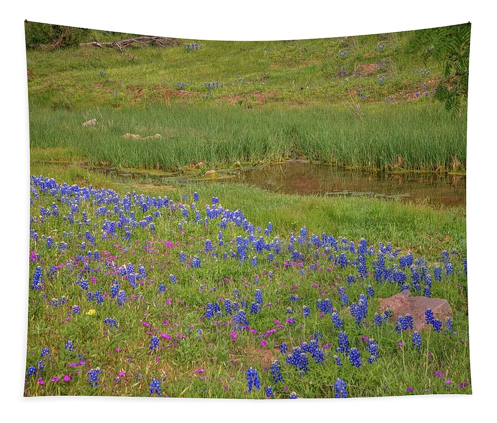 Bluebonnets Tapestry featuring the photograph Wildflowers Along The Creek by Lynn Bauer