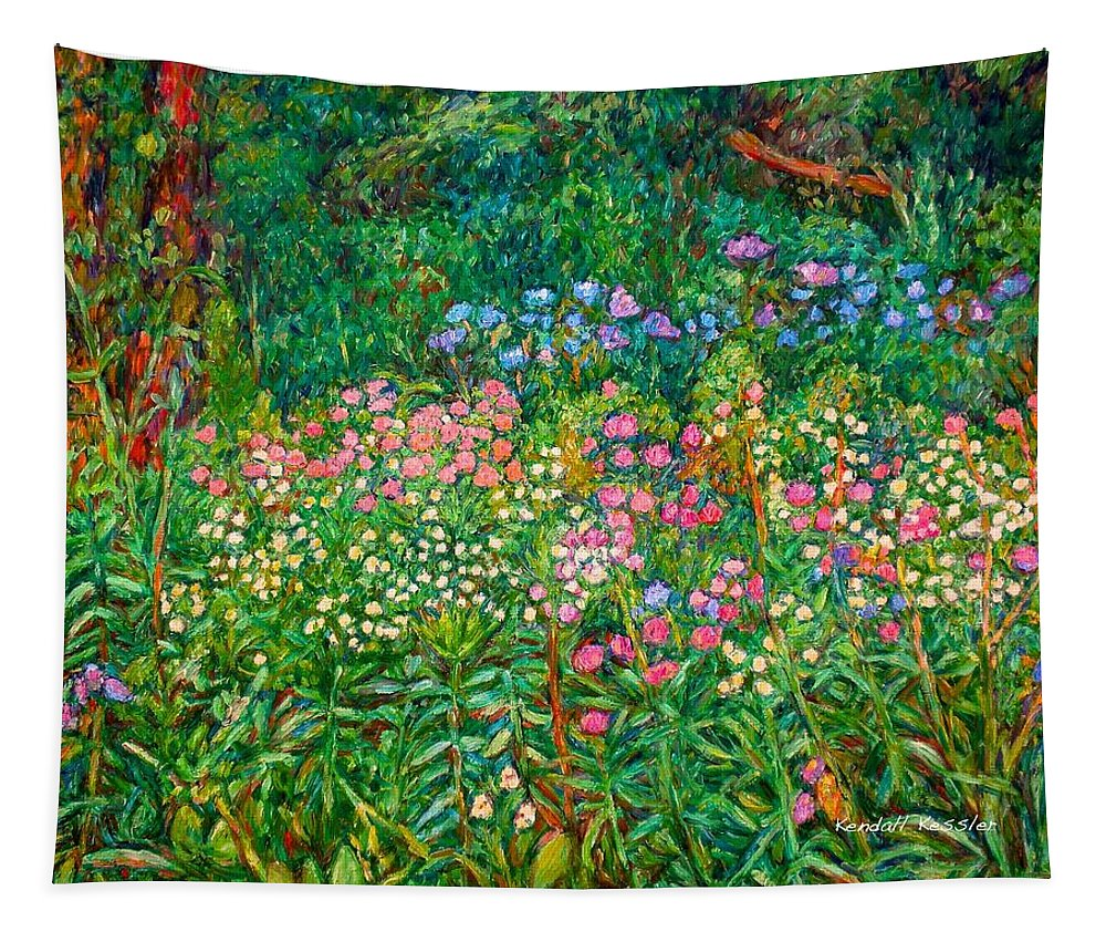 Floral Tapestry featuring the painting Wildflowers Near Fancy Gap by Kendall Kessler