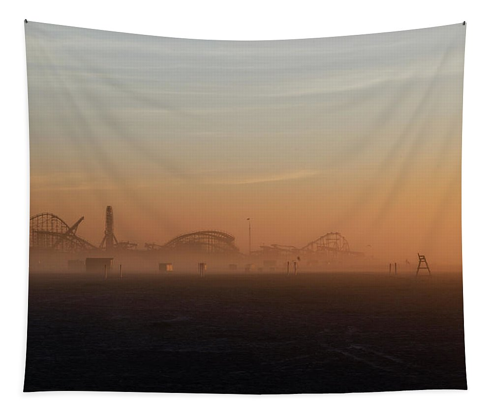 Wildwood Tapestry featuring the photograph Wildwood New Jersey Just Before Dawn by Bill Cannon