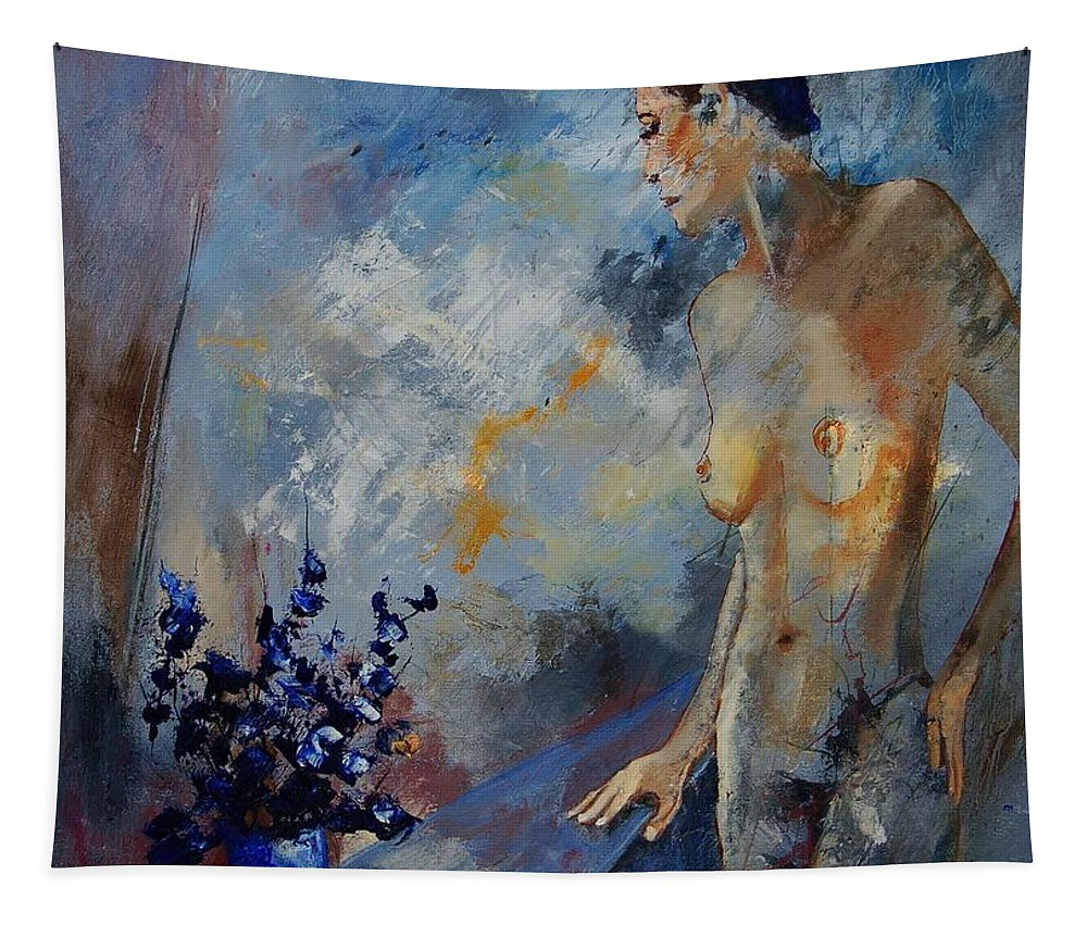 Girl Tapestry featuring the painting Will He Be Coming by Pol Ledent