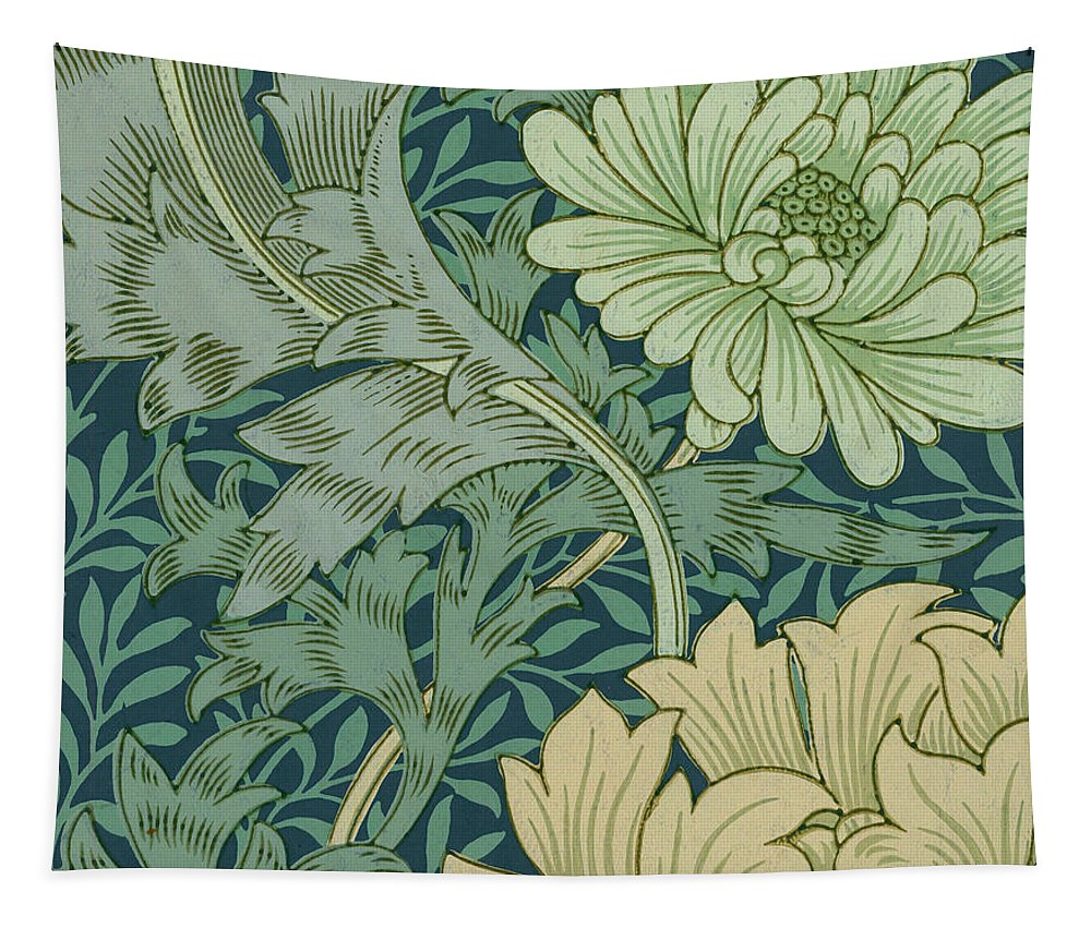 William Morris Tapestry featuring the painting William Morris Wallpaper Sample With Chrysanthemum by William Morris