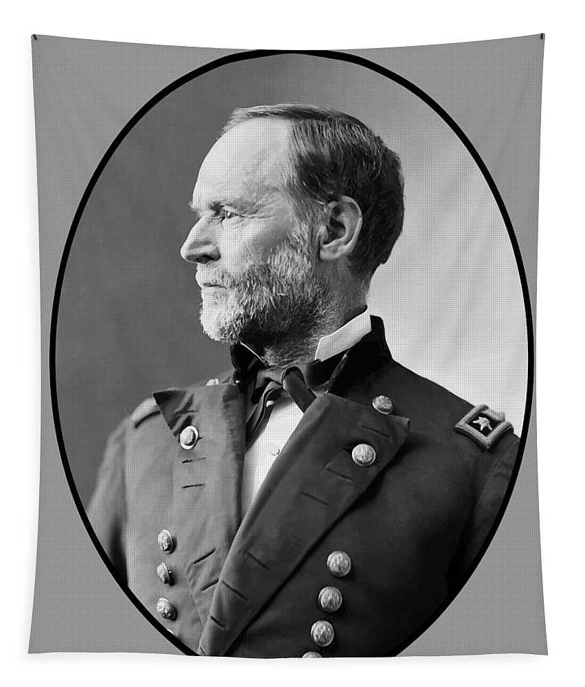 Civil War Tapestry featuring the painting William Tecumseh Sherman by War Is Hell Store