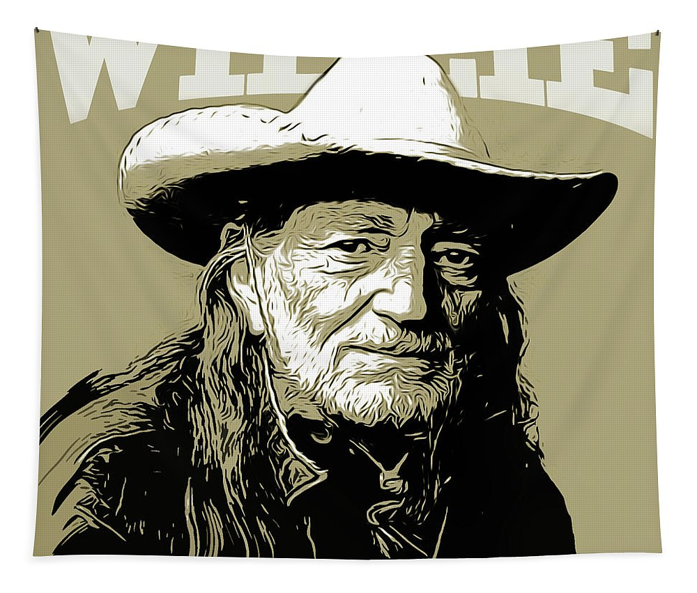 Willie Nelson Tapestry featuring the mixed media Willie by Greg Joens