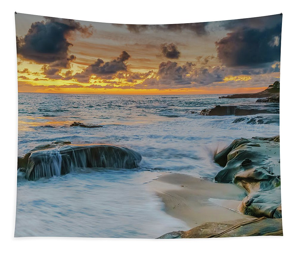 La Jolla Tapestry featuring the photograph Wind And Sea by Scott Campbell