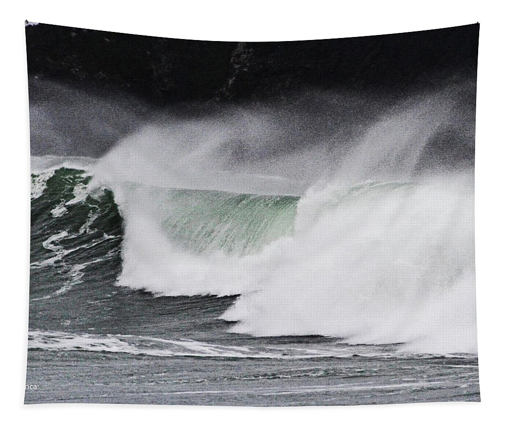 Wind And Waves In Oregon Tapestry featuring the photograph Wind And Waves In Oregon by Tom Janca