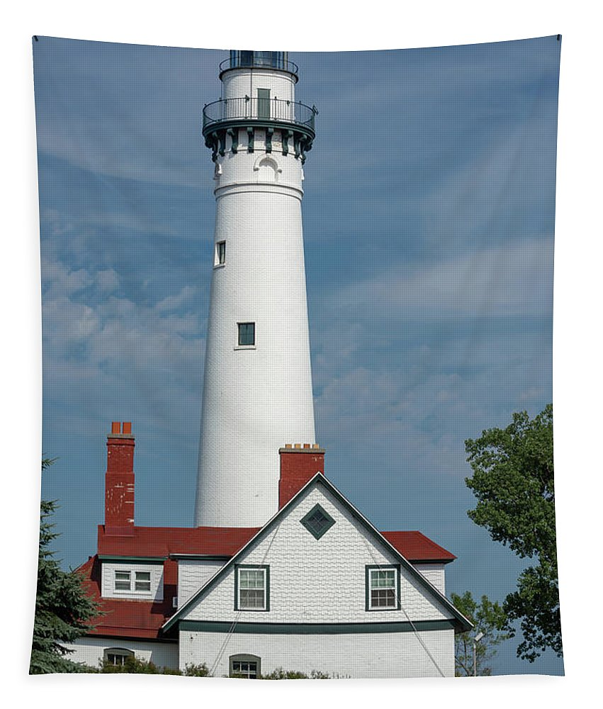 Lake Michigan Tapestry featuring the photograph Wind Point Lighthouse by Enzwell Designs