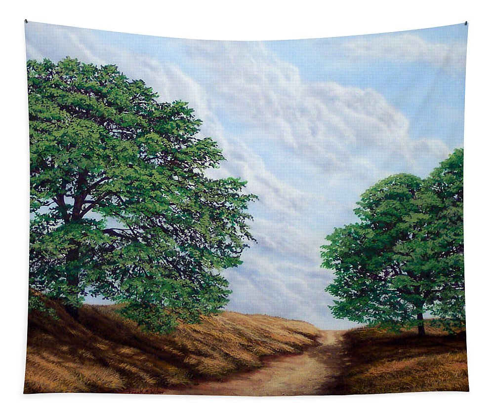 Landscape Tapestry featuring the painting Windblown Clouds by Frank Wilson