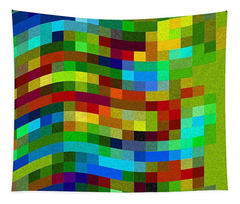 Abstract Tapestry featuring the digital art Winding Wall by Ruth Palmer