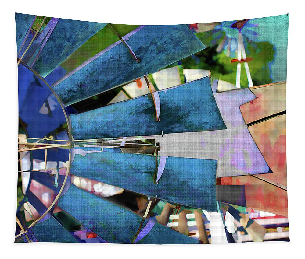 Windmill Tapestry featuring the digital art Windmill 3 by Terry Davis