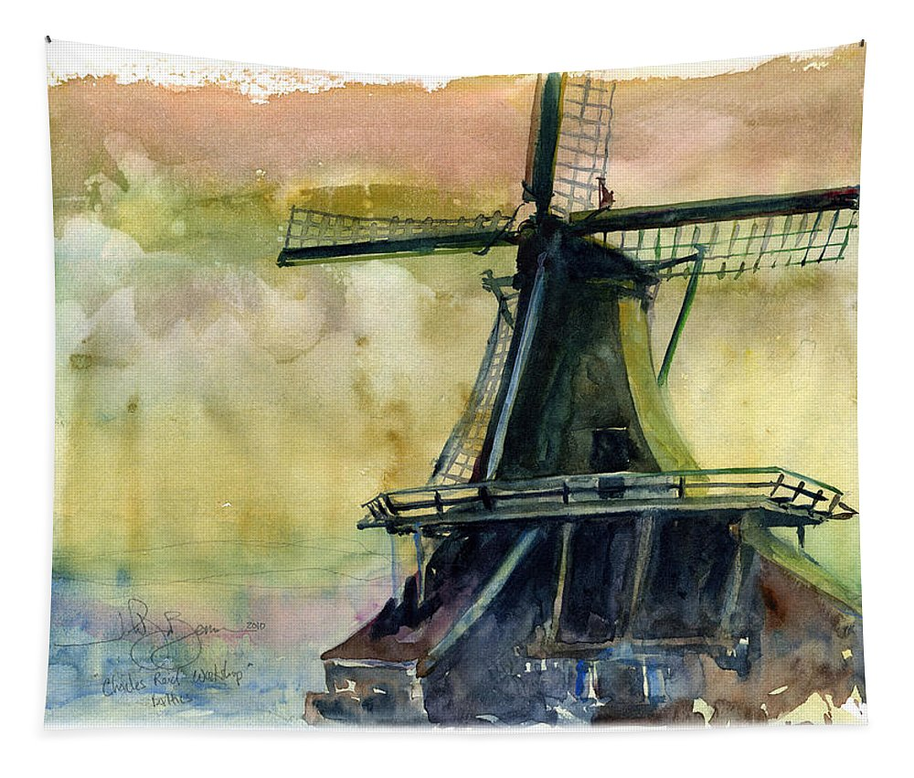 Workshop Tapestry featuring the painting Windmill by John D Benson