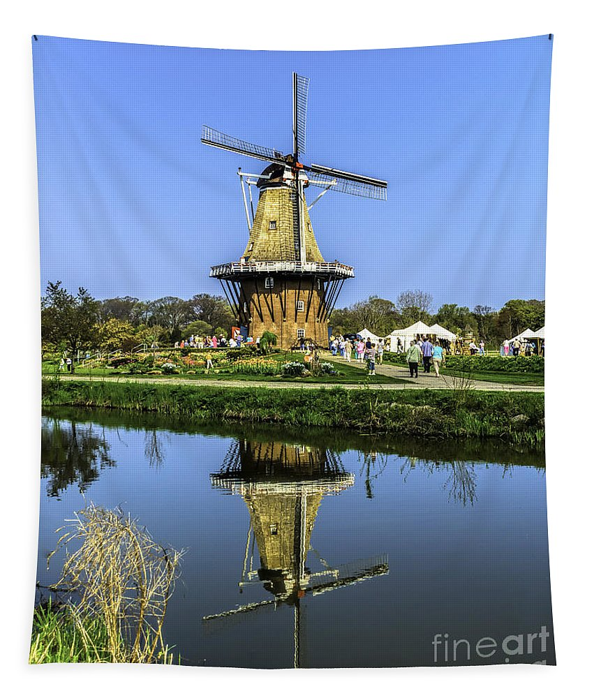 Holland Tapestry featuring the photograph Windmill Reflection by Nick Zelinsky