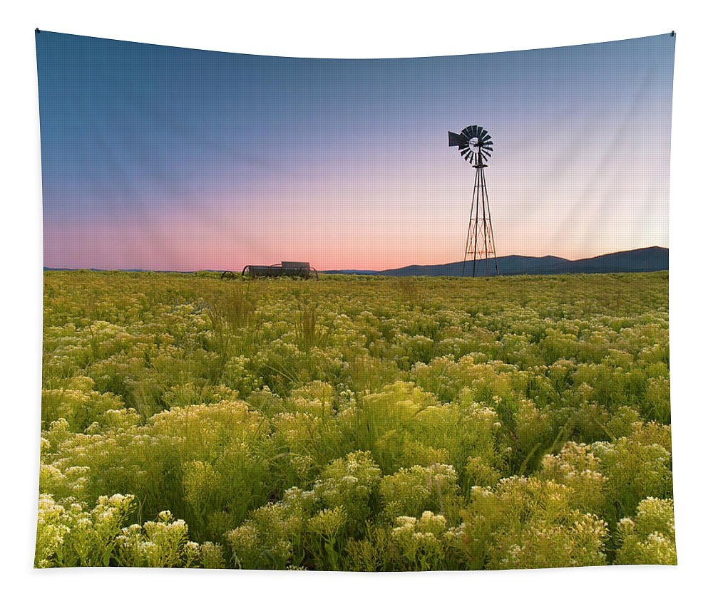 Sunset Tapestry featuring the photograph Windmill Sunset by Christopher Johnson