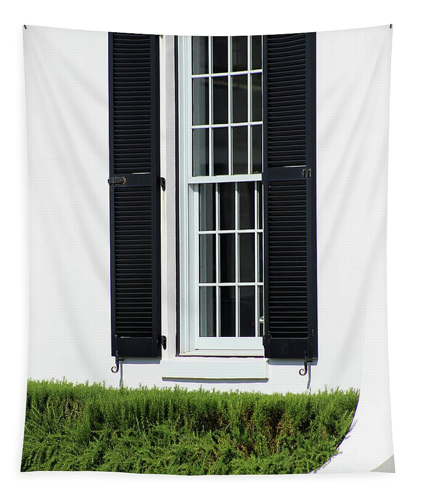 Abstract Tapestry featuring the photograph Window And Black Shutters by Karen Adams