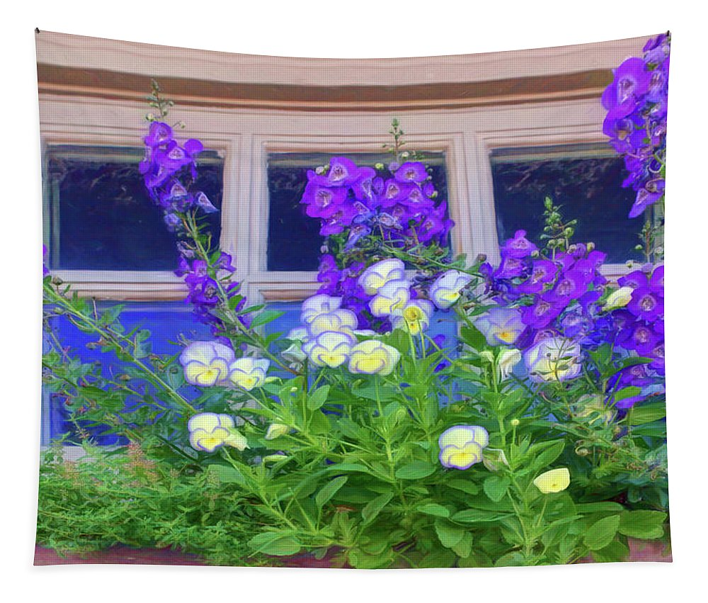 Windows Tapestry featuring the photograph Window Box With Pansies by Nikolyn McDonald