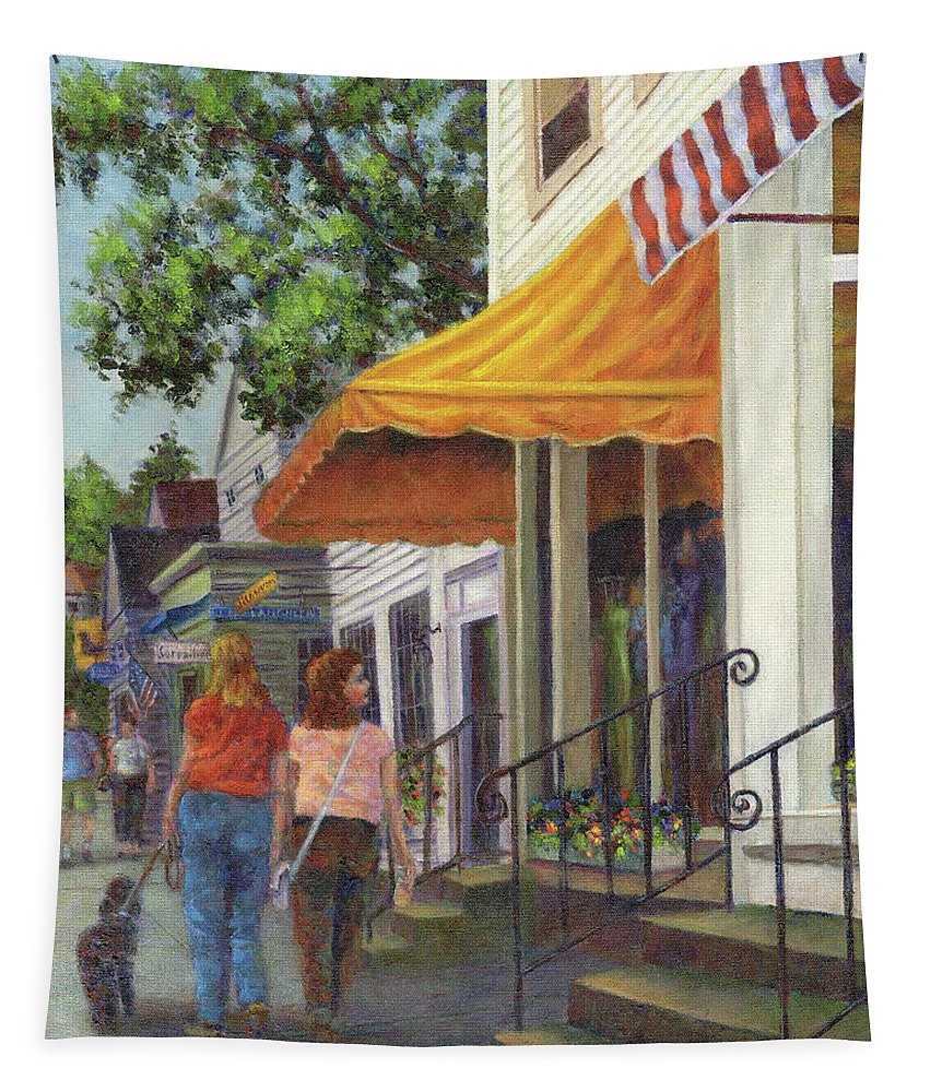 Window Shopping Tapestry featuring the painting Window Shopping by Susan Savad