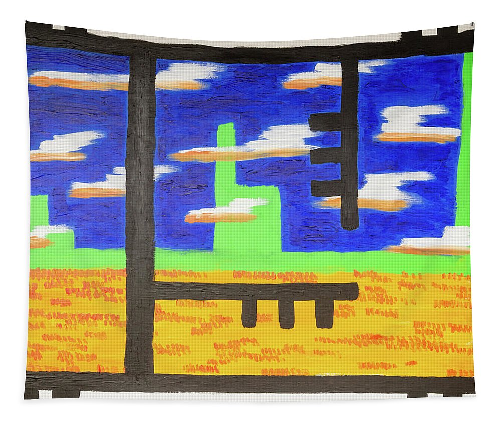 Acrylics Tapestry featuring the painting Window View by David Brewer