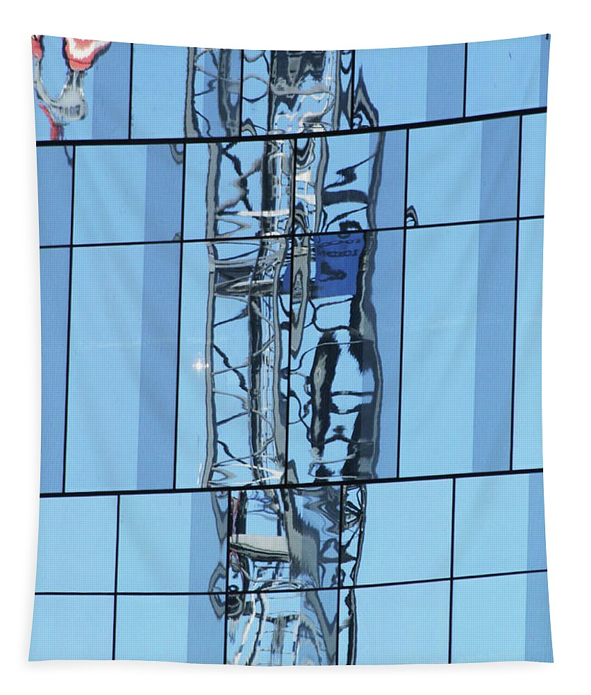 Windows Crane Reflection Tapestry featuring the photograph Windows Crane Reflection by Tom Janca