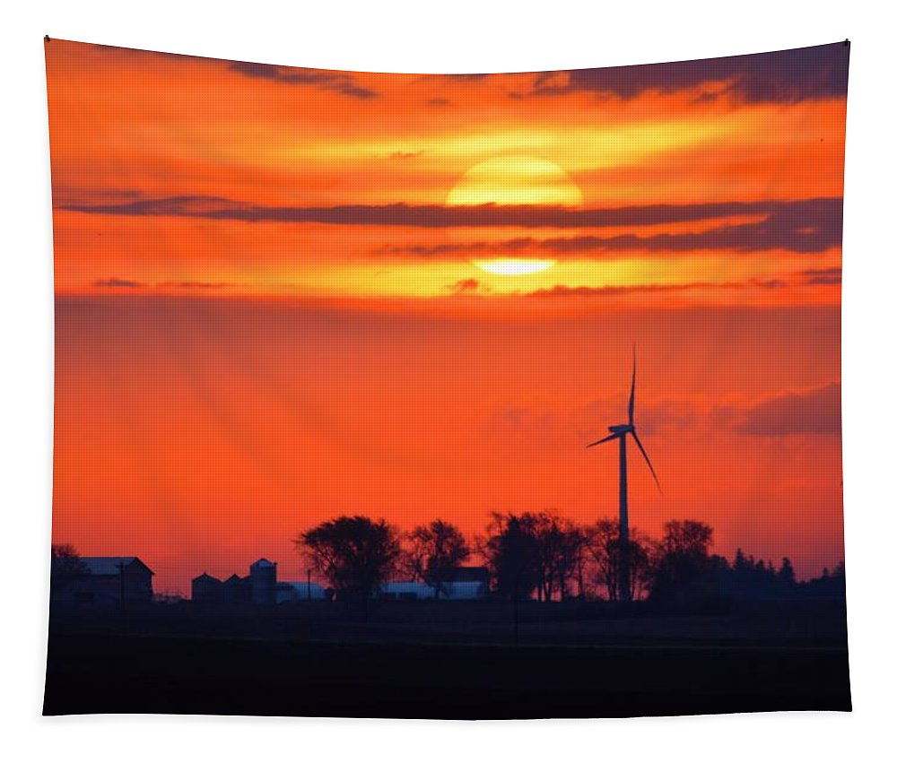 Sunrise Tapestry featuring the photograph Windpower Sunrise by Bonfire Photography