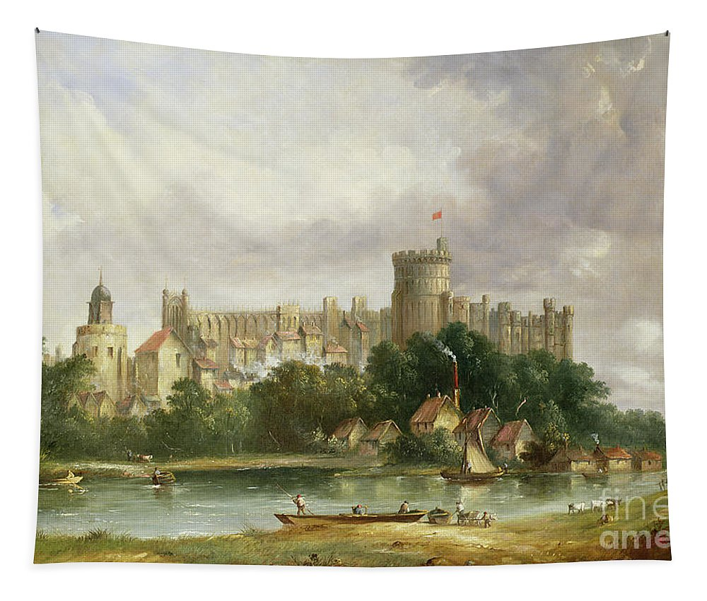 Windsor Tapestry featuring the painting Windsor Castle - From The Thames by Alfred Vickers
