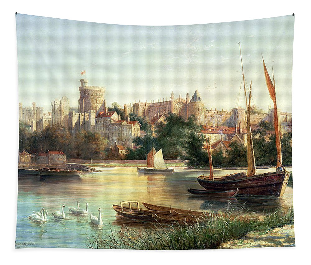 Windsor Tapestry featuring the painting Windsor From The Thames  by Robert W Marshall