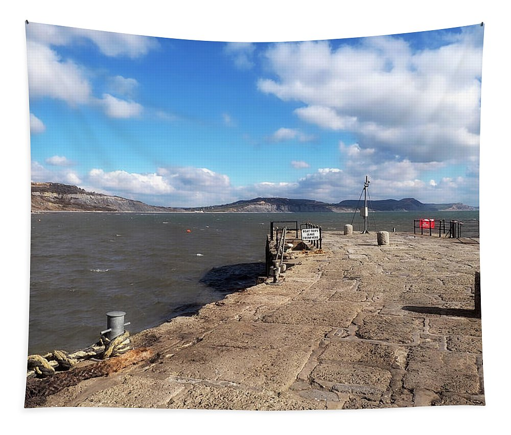 Cobb Tapestry featuring the photograph Windswept Cobb - Lyme Regis by Susie Peek