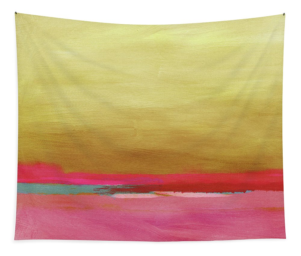 Abstract Tapestry featuring the mixed media Windswept Sunrise- Art by Linda Woods by Linda Woods
