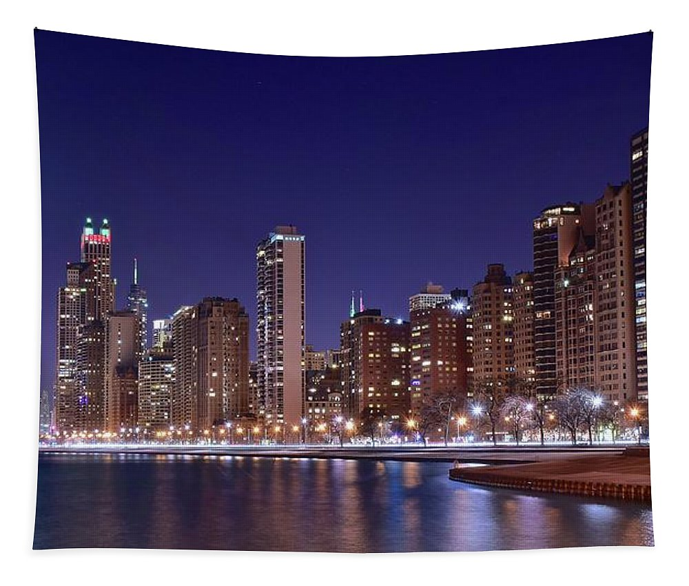 Chicago Tapestry featuring the photograph Windy City Lakefront by Frozen in Time Fine Art Photography