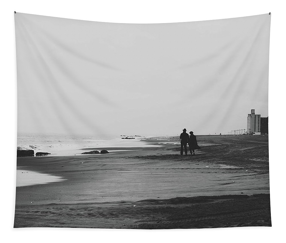 Couple Tapestry featuring the photograph Windy Seashore Stroll by Pixabay