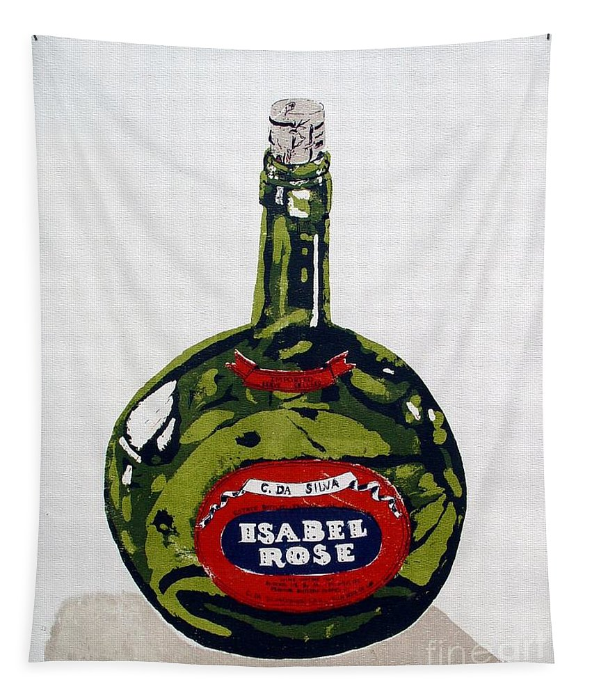 Silk Screen Tapestry featuring the mixed media Wine Bottle by Ron Bissett