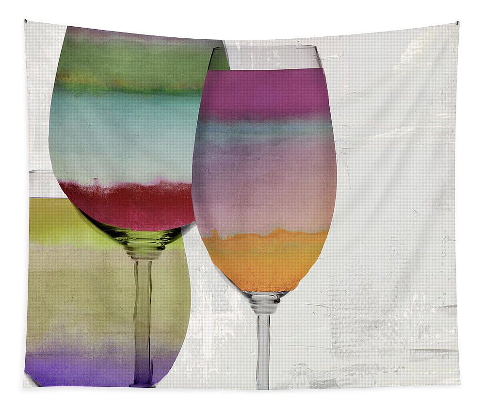 Wine Tapestry featuring the painting Wine Prism by Mindy Sommers