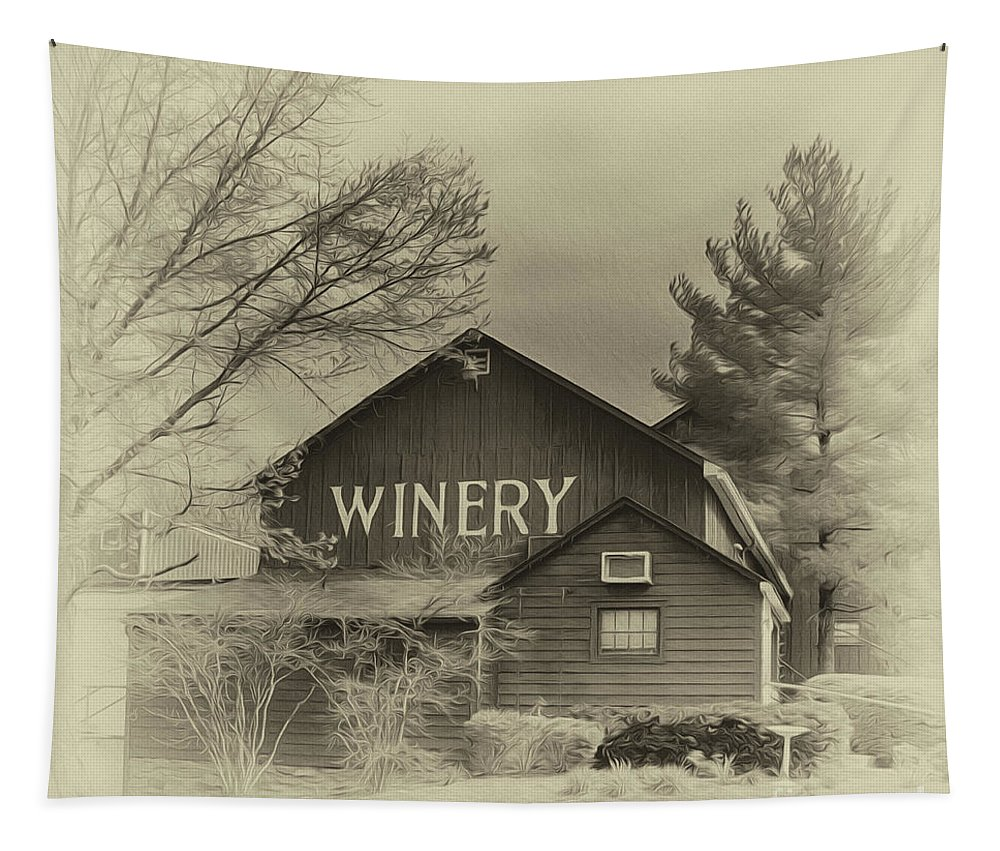 Barn Tapestry featuring the photograph Winery In Sepia by Tom Gari Gallery-Three-Photography