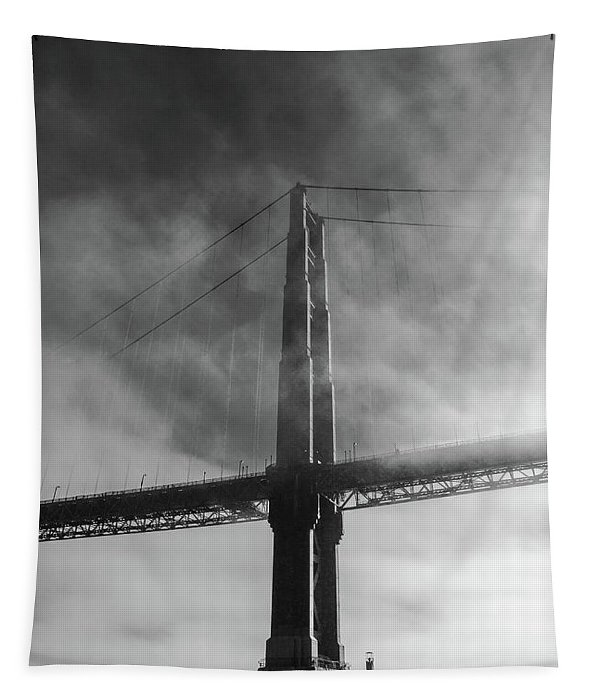 Golden Gate Bridge Tapestry featuring the photograph Winged Skyscraper by Scott Campbell