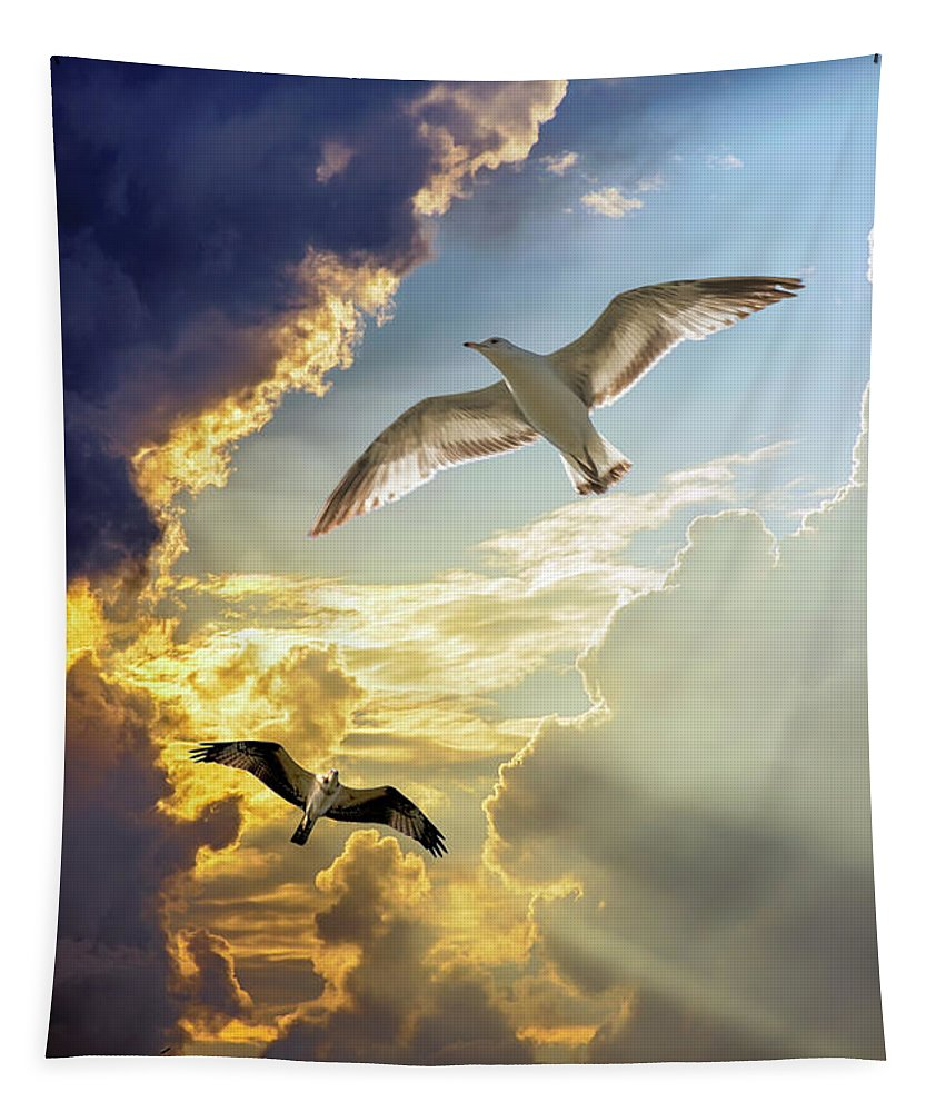 2d Tapestry featuring the photograph Wings Against The Storm by Brian Wallace