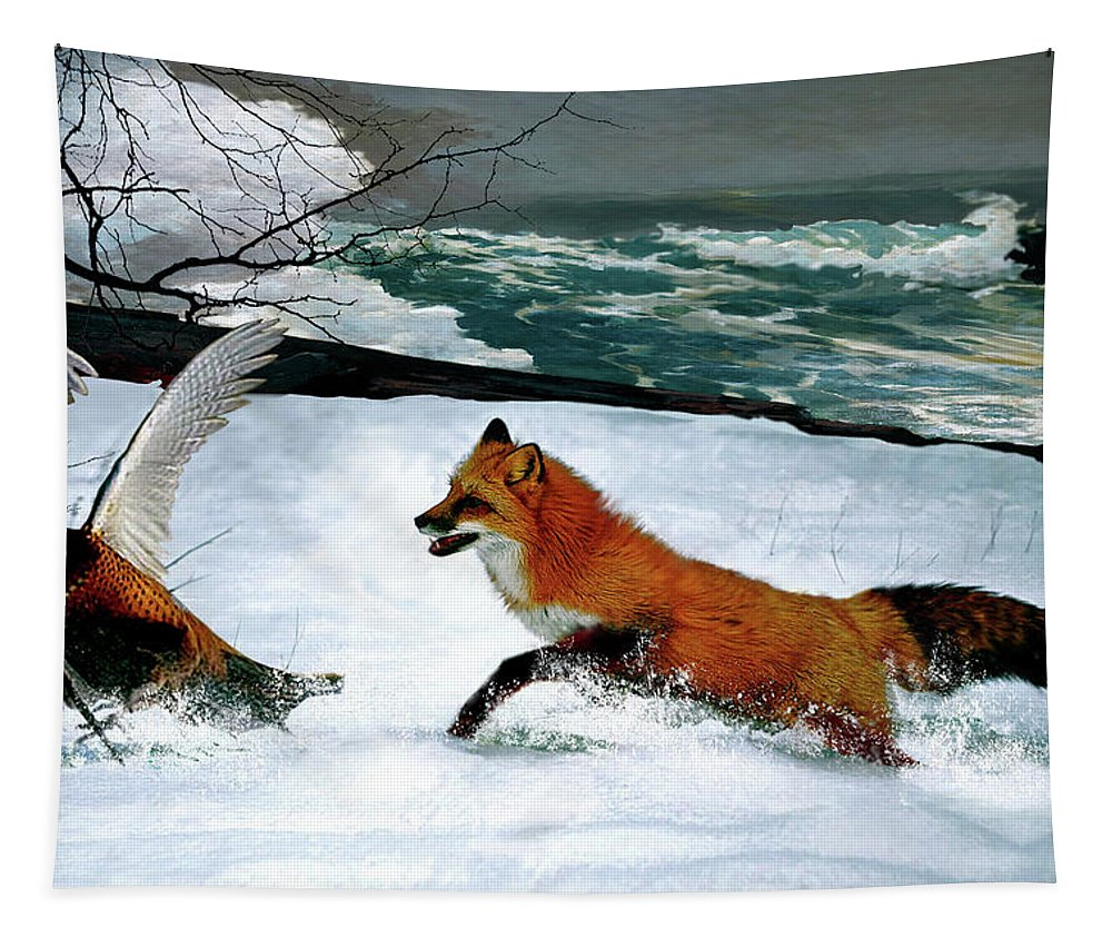 Winslow Homer Tapestry featuring the mixed media Winslow Homer's, 1893 ' The Fox Hunt ', Revisited 2016 by Thomas Pollart