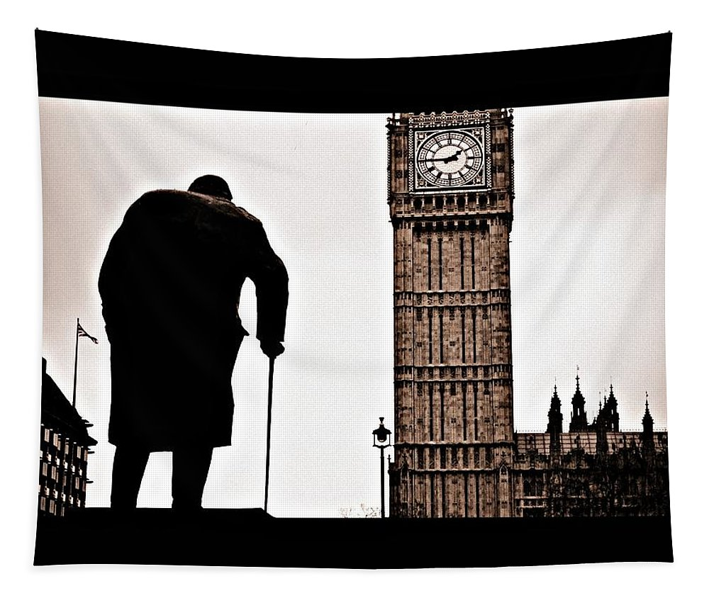Churchill Tapestry featuring the photograph Winston And His Watch by Keri Butcher