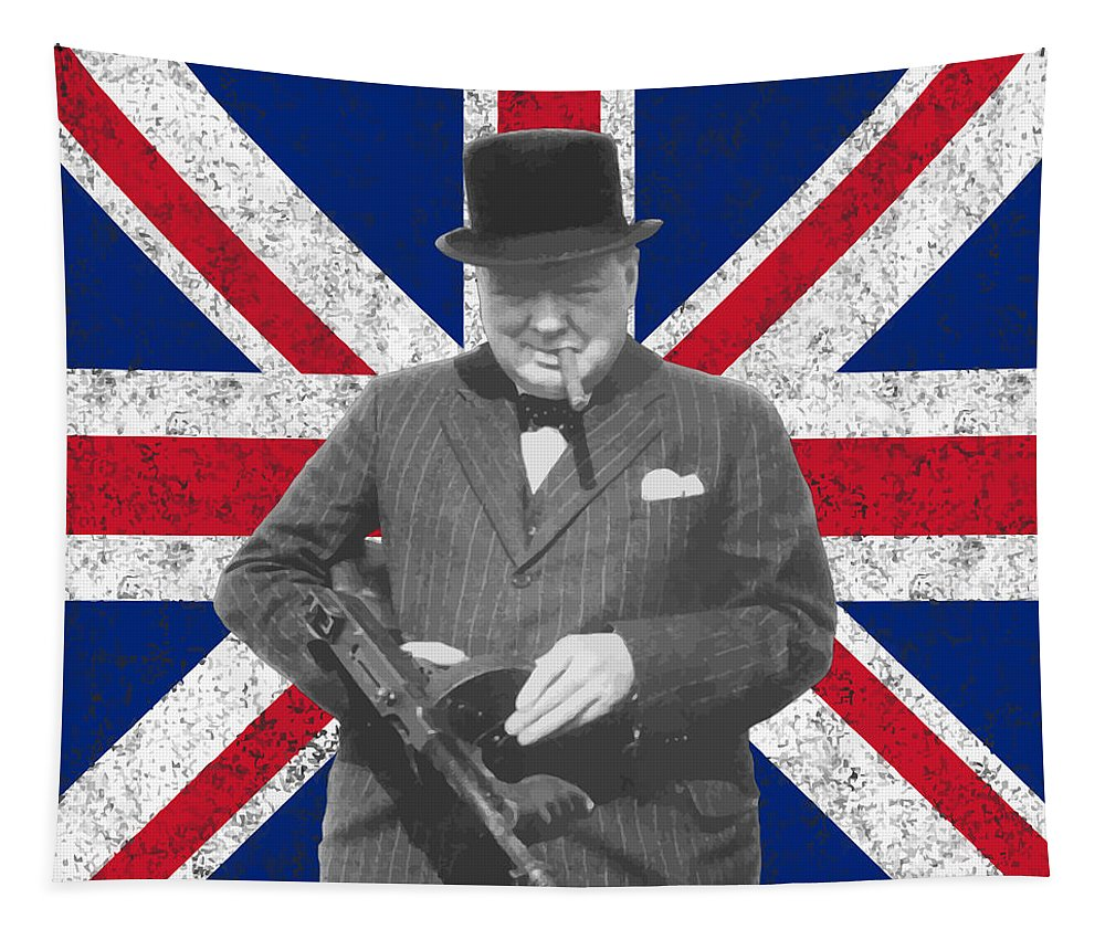 Winston Churchill Tapestry featuring the painting Winston Churchill And His Flag by War Is Hell Store