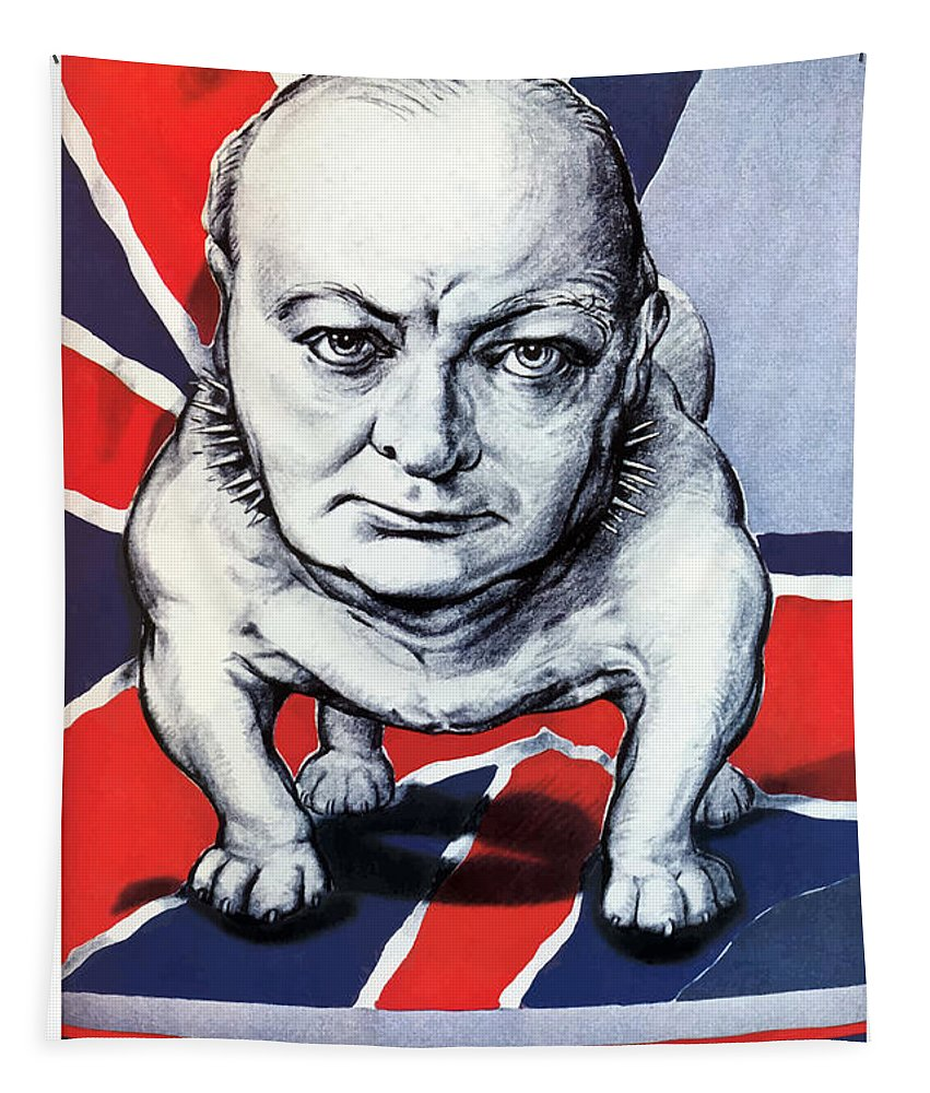 Winston Churchill Tapestry featuring the painting Winston Churchill Holding The Line by War Is Hell Store