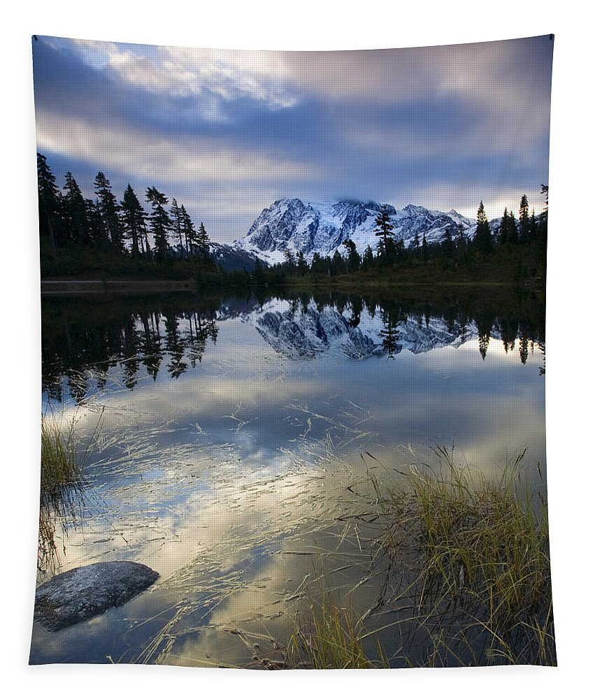 Mt. Shuksan Tapestry featuring the photograph Winter Approaches by Mike Dawson