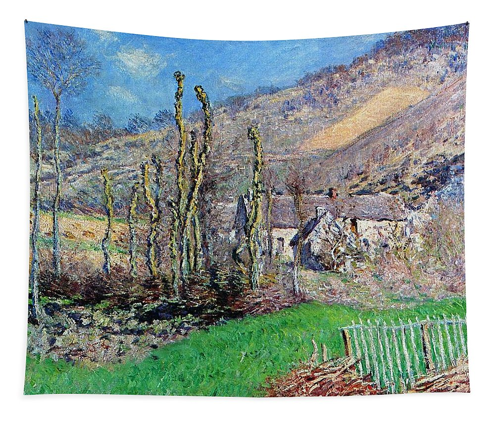 Winter At The Val De Falaise Tapestry featuring the painting Winter At The Val De Falaise by Claude Monet