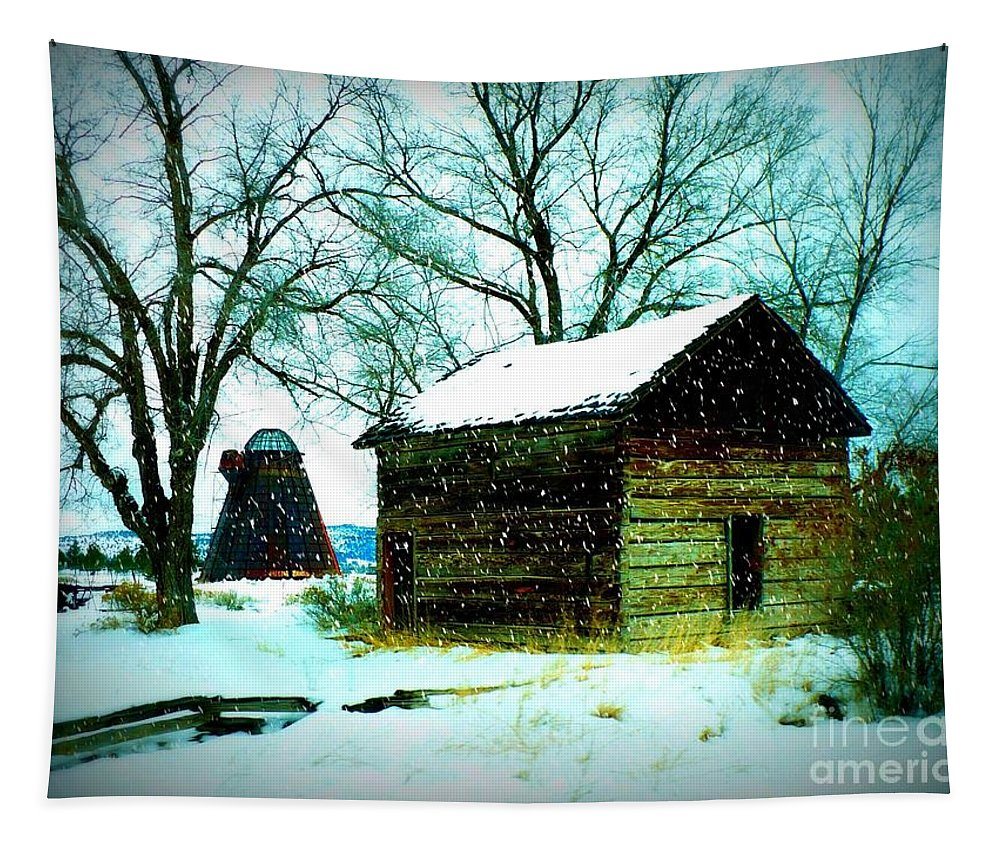 Winter Landscape Tapestry featuring the photograph Winter Barn And Silo by Carol Groenen