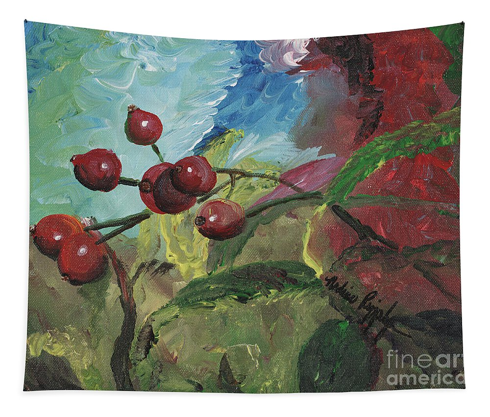 Berries Tapestry featuring the painting Winter Berries by Nadine Rippelmeyer