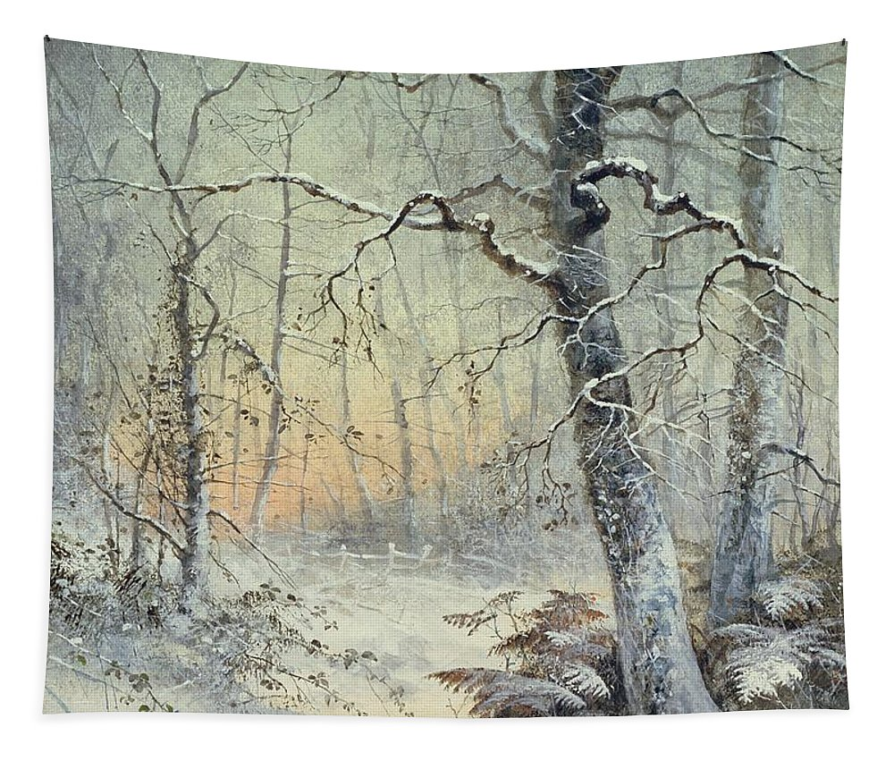 Winter Tapestry featuring the painting Winter Breakfast by Joseph Farquharson